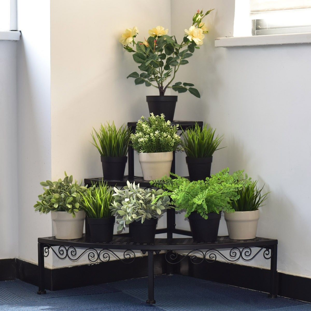 3 Tier Corner Metal Flower Ladder Plant Stand Material Steel Color Black Overall Dimension 24 X 24 X 23 6 L X W X Plant Stand Metal Flowers Corner Plant
