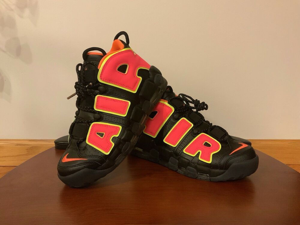 c32efd2aa50ed Nike Air More Uptempo Womens Black Hot Punch Volt Pippen Size 8.5 ...