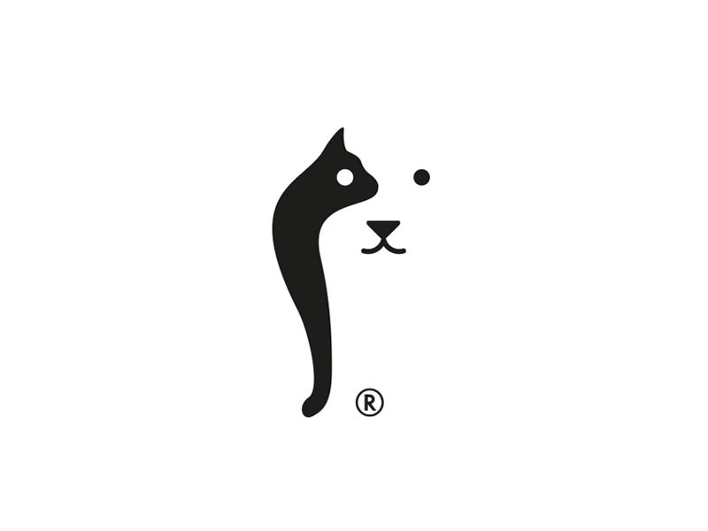Negative Space Animal Logo Cat And Dog