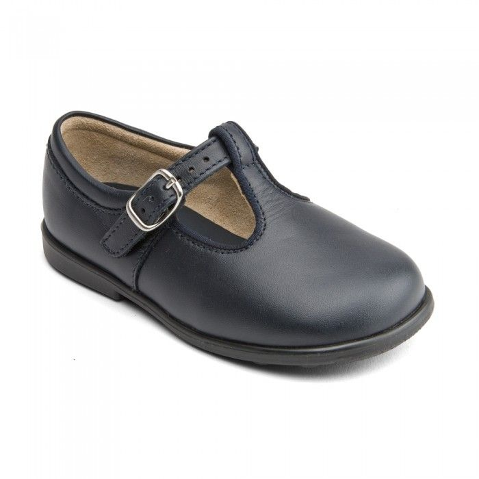 Jo, Navy Blue Leather Boys Buckle First