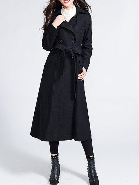 Shop Coats - Lapel Plain Work Long Sleeve Pockets Coat online. Discover unique…