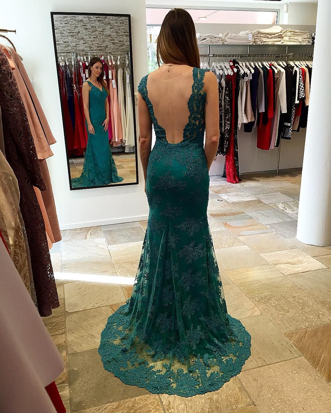 Teal green lace mermaid backless formal long prom dress pd