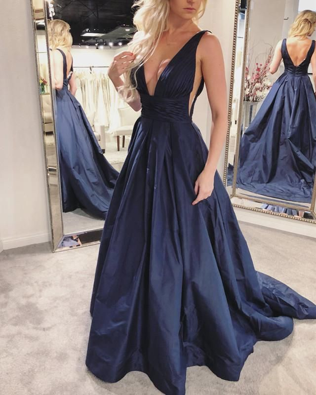 a85022bcd7 Gorgeous Deep V Neck Navy Blue Long Prom | wear in 2019