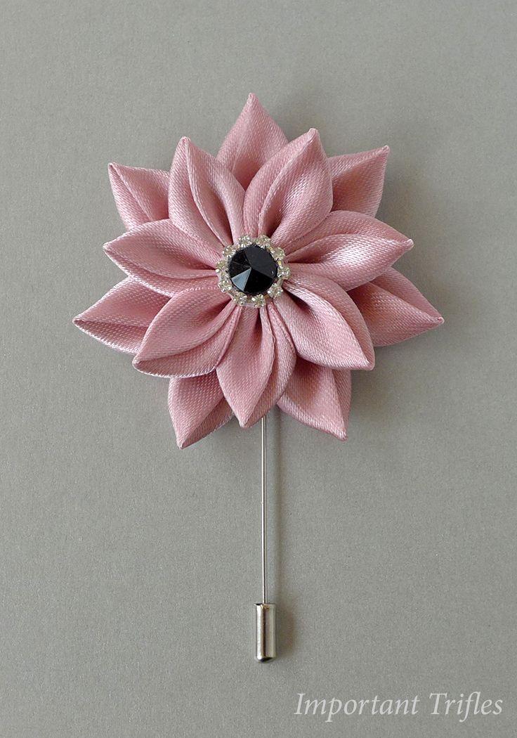 Pin By Deana Svoboda Grgic On Kanzashi Fabric Flower Brooch Fabric Flowers Lapel Flower