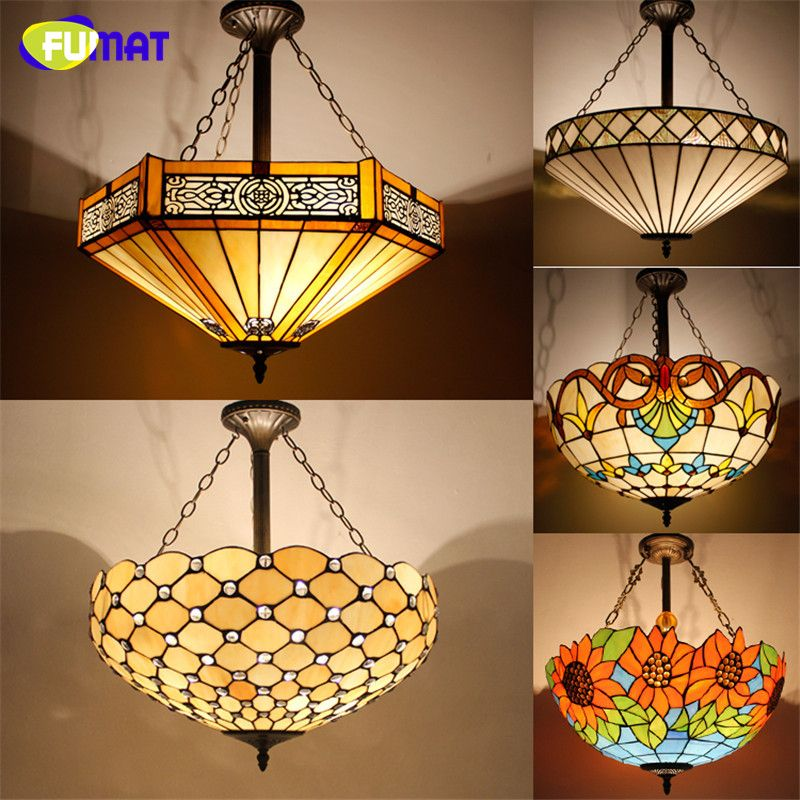 Antique Style Tiffany Pendant Lamp Stained Glass Suspension - Antique kitchen light fixtures