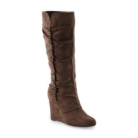 Sears Wl Mia Amore Women S Adyson Black Wedge Boot Boots Brown Wedge Boots Wedge Boot