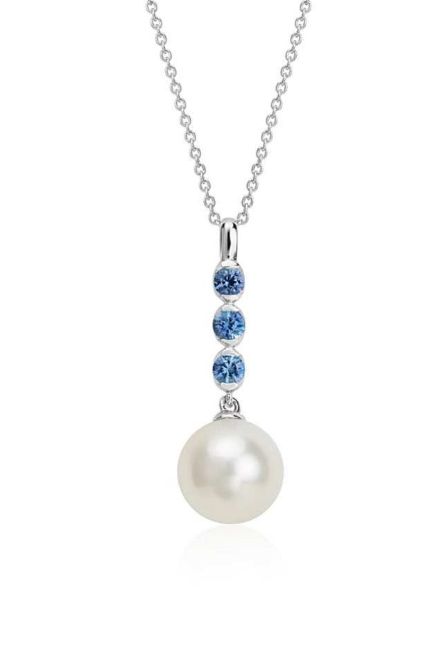This pendant is the perfect 'something blue' for your wedding day! It features three sapphire stones with a freshwater cultured pearl.
