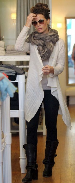 Love the boots sweater and scarf. Kate Beckinsale has the greatest style! CAbi -ize this look with the oatmeal confetti sweater!!