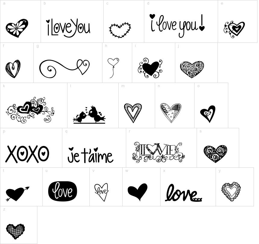 KG Heart Doodles Dingbat Font