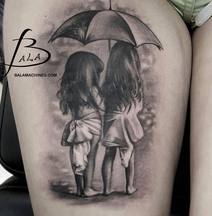 Photo of Realistic Grey Ink Little Girls Under Umbrella Tattoo On Thigh by Luke Sayer