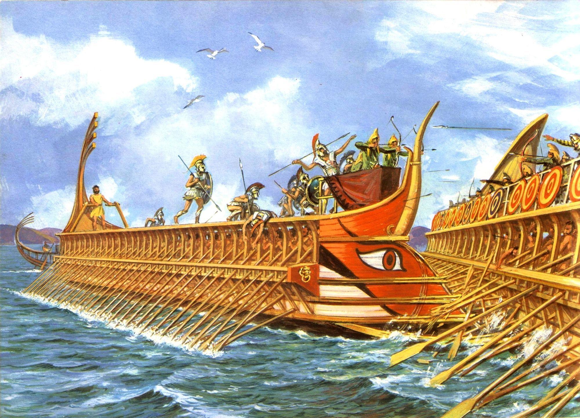 greek trireme attacking a persian trireme [ 2000 x 1441 Pixel ]