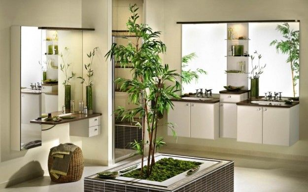 Arredamento Piante ~ Arredamento con il feng shui bagno con ampi specchi e grande vaso