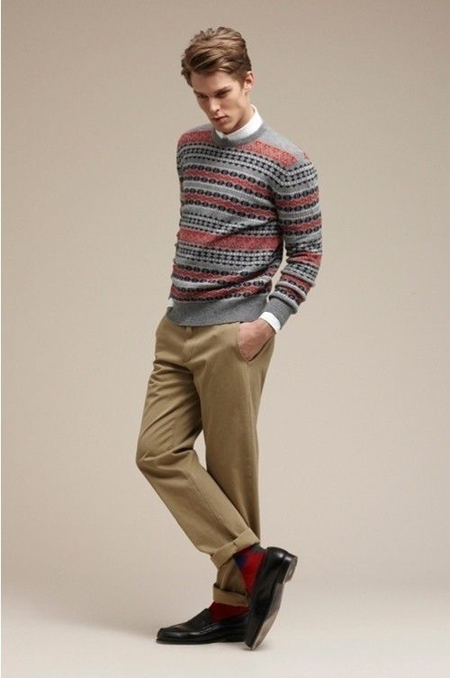 Men's Grey Fair Isle Crew-neck Sweater, White Long Sleeve Shirt ...
