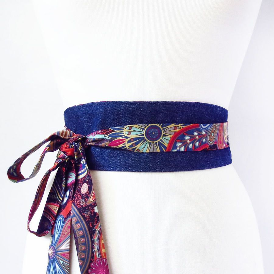Reversible obi style wrap belt - sewing pattern | Pinterest