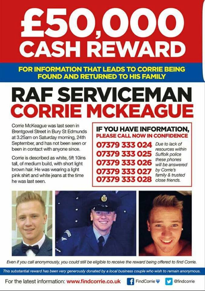 Sims  Addictions: Find Missing Corrie McKeague- £50,000 Reward
