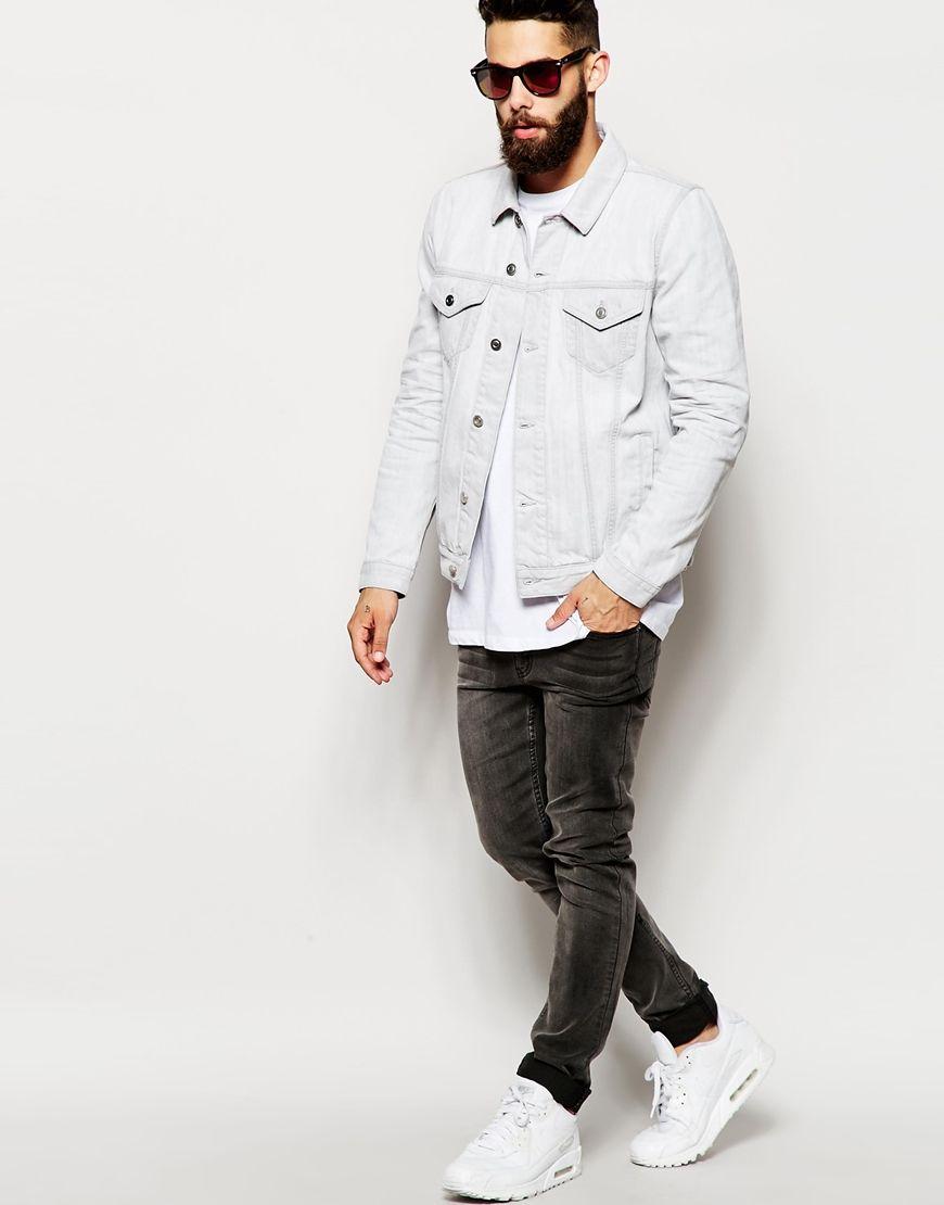 Men Street Style Men S Denim Style Coloured Denim Jacket White Denim Jacket Outfit