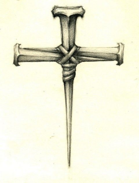 iron nails cross tattoo design