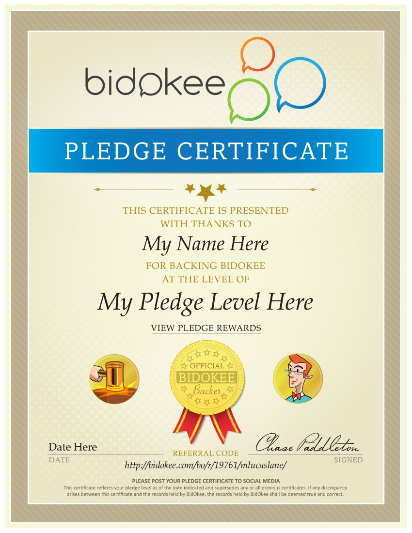 Sample Pledge Level Certificate Imagine Your Name Here  Bidokee