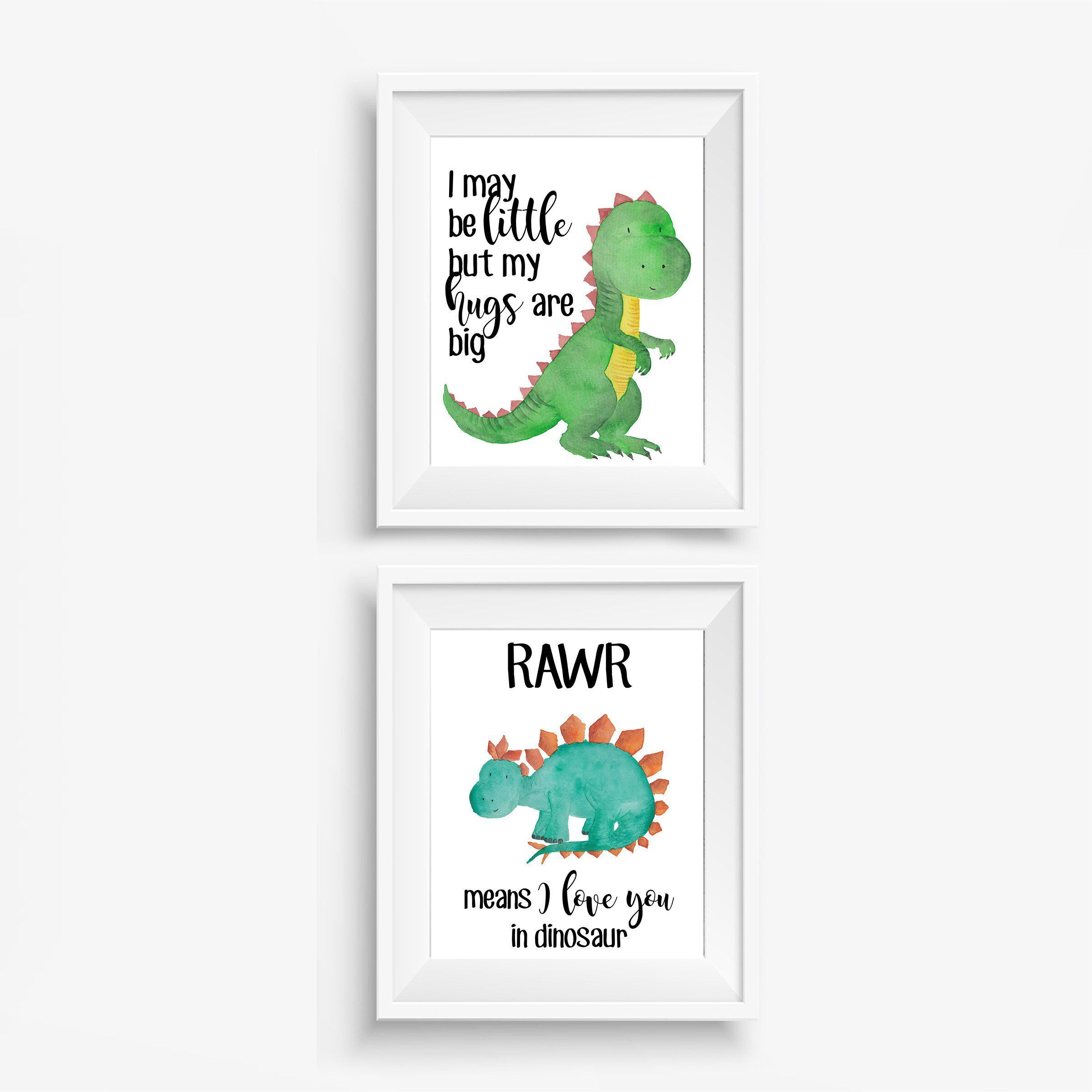 Dinosaur Nursery Print Set, Ready to Frame Posters, Dinosaur Nursery Decor