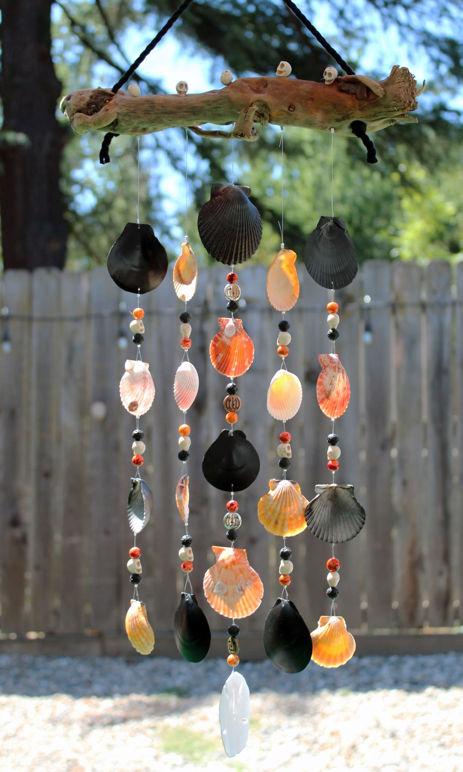 halloween mobile sea shell wind chime driftwood wind chime