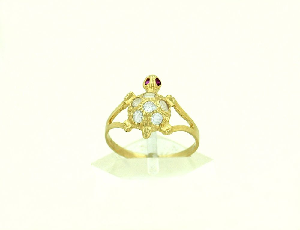 Real 10K Yellow Gold Ladies Turtle Ring | Turtle ring, Turtle and Ring