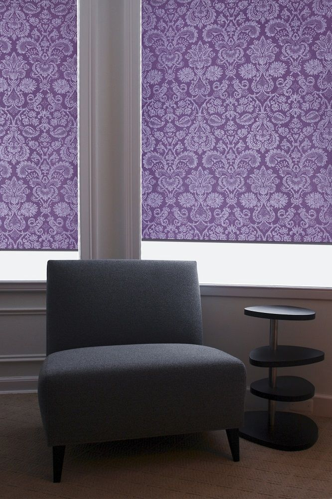 Moroccan purple roller blinds from Apollo Blinds. Purple blinds. Roller blinds. Patterned blinds. Pantone colour of the year 2018. Ultra Violet. Contemporary purple home decor ideas.