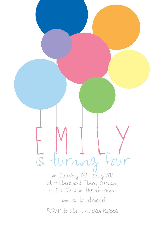 Abstract Balloon Birthday Invitation PDF Print at home. £8.00, via ...