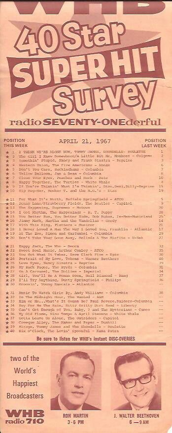 WHB 710 AM Top 40 April 21 1967 New Music 10
