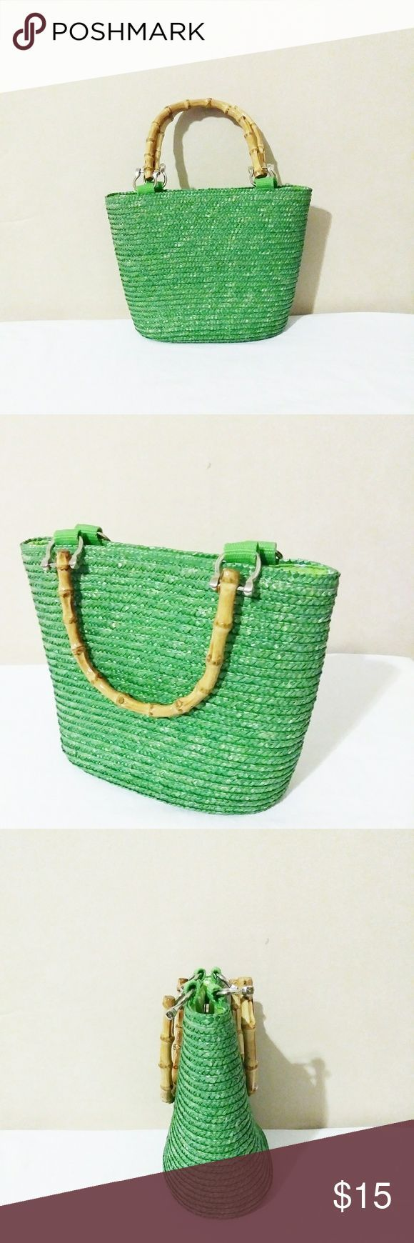 Vintage Lime Green Straw Bamboo Handle Mini Purse NWOT  Adorable Y2K era bright  Vintage Lime Green Straw Bamboo Handle Mini Purse NWOT  Adorable Y2K era bright