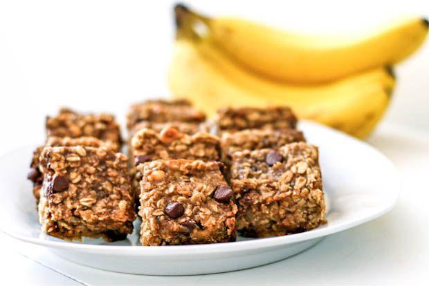 peanut butter banana chocolate chip oatmeal bars.