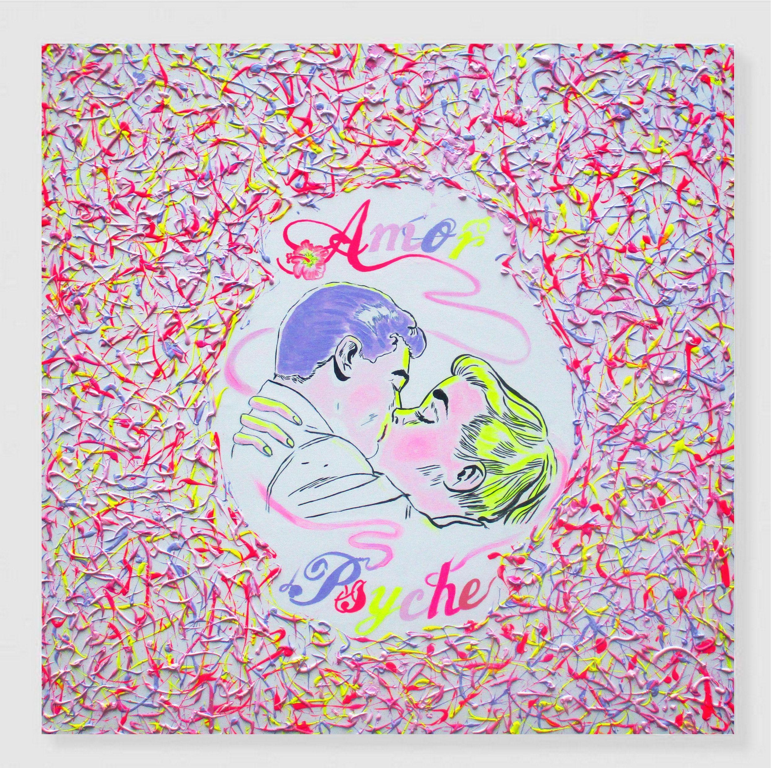 Abstraktes Buntes Gemälde Pink Pop Art Bild Quadratisches Etsy Artpop Pop Art Kunstmalerei