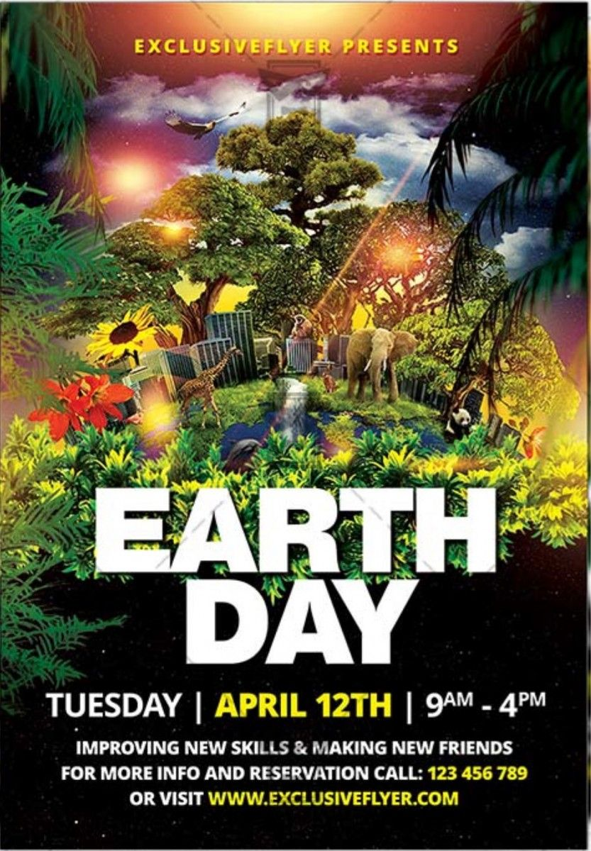 EARTH DAY CELEBRATION – FREE CLUB AND PARTY FREE FLYER PSD ...
