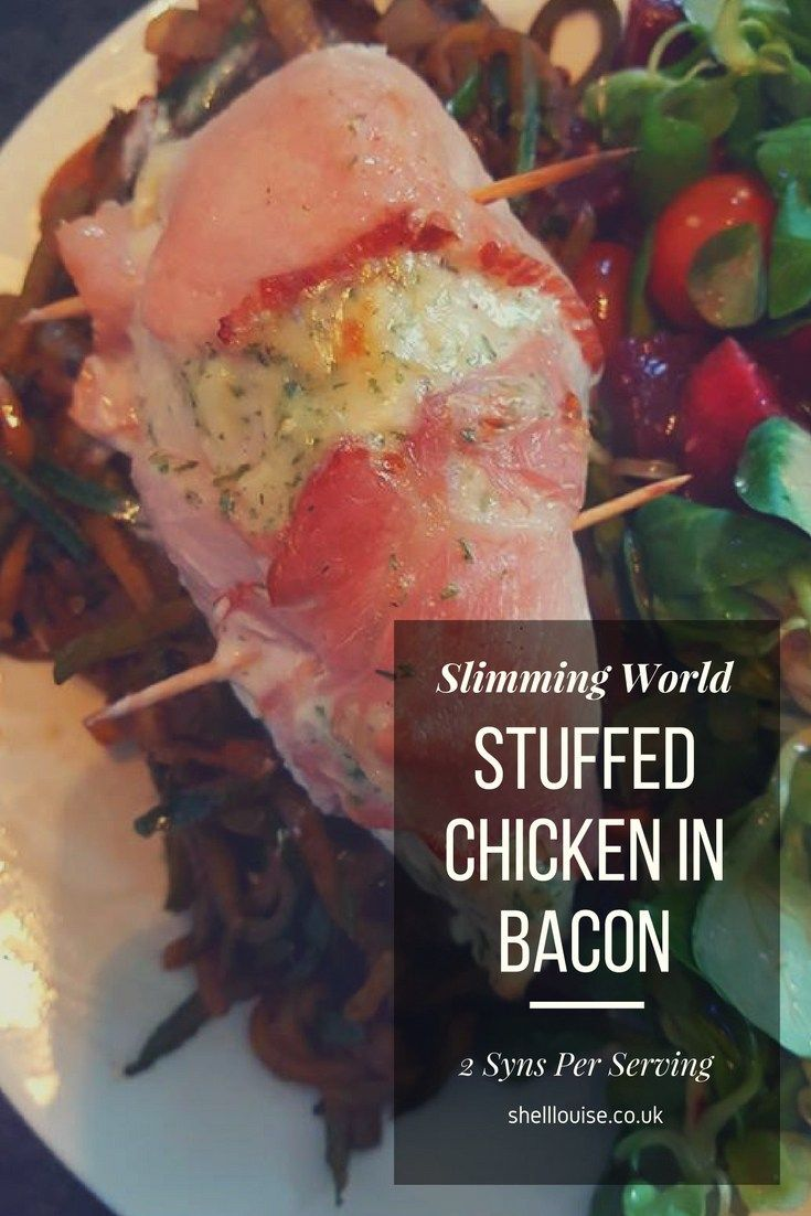 stuffed chicken wrapped in bacon using Primula Light then baked