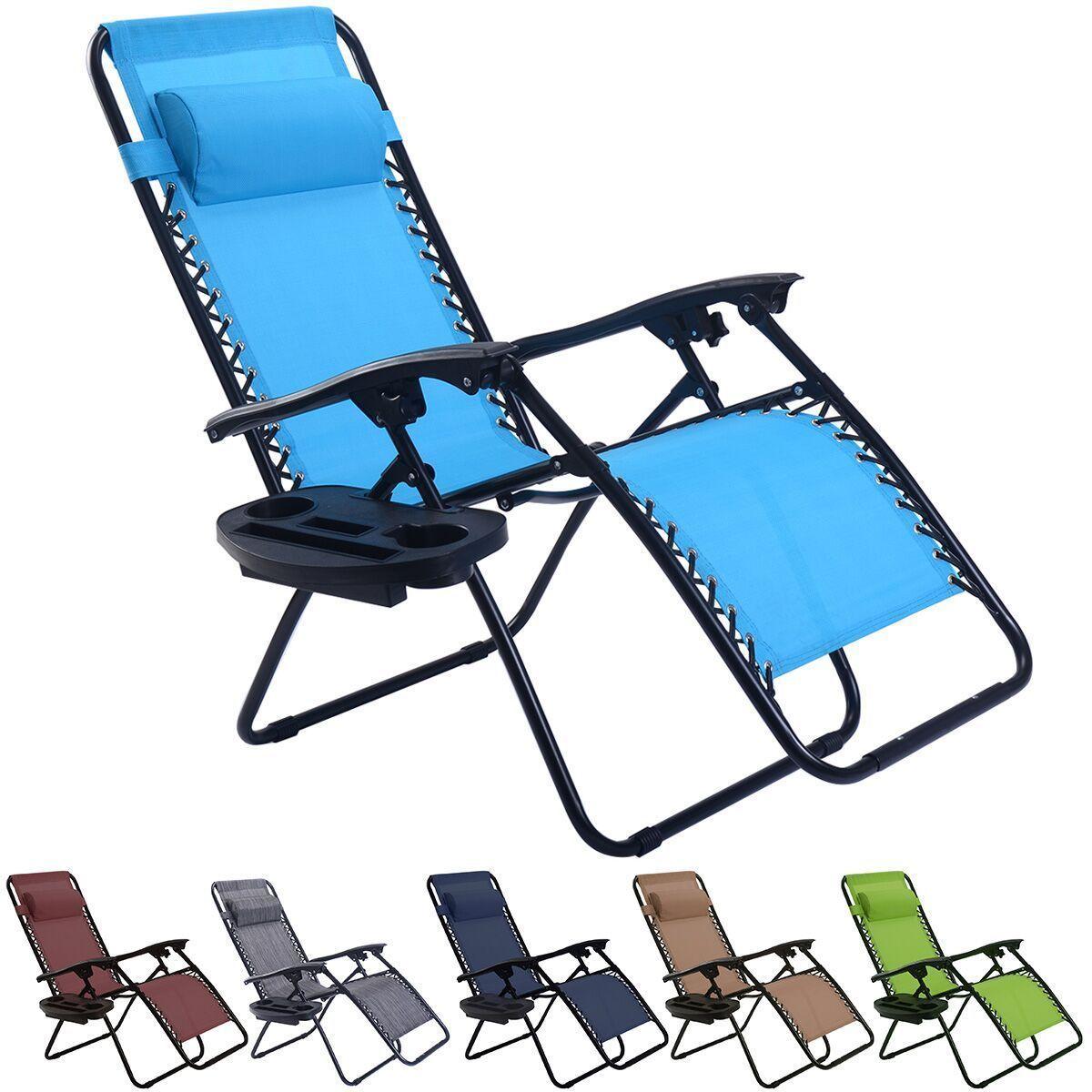 Folding Zero Gravity Reclining Lounge Chairs Outdoor Beach Patio W/Utility  Tray
