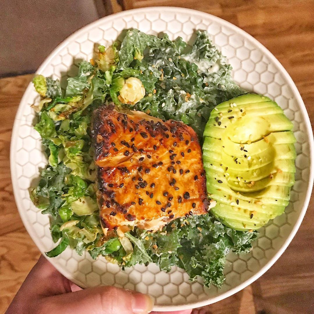 dinner! had a kale caesar salad with teriyaki salmon avo and the rest of some air fryer garlicky brussells i made to s... #teriyakisalmon dinner! had a kale caesar salad with teriyaki salmon avo and the rest of some air fryer garlicky brussells i made to s... #teriyakisalmon