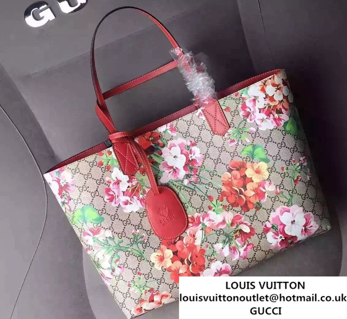 c0e8ae1c0 Gucci GG Blooms Reversible Leather Tote Bag 368568 Red 2016   Gucci ...