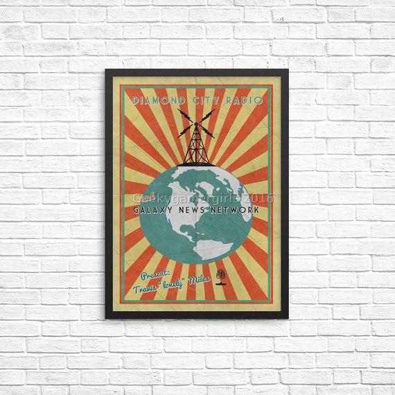 Fallout Poster Diamond City Radio Poster Vintage Look Print Videogame Art Galaxy News Network Poster Gee Fallout Posters Vintage Posters Diamond City