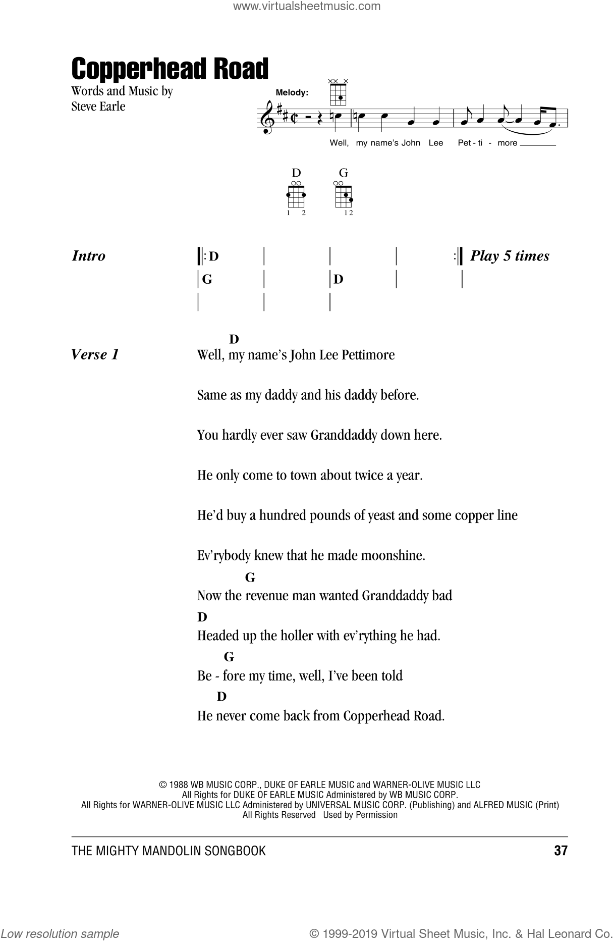 Earle   Copperhead Road sheet music for mandolin chords only ...