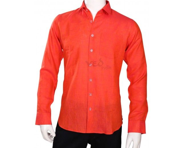 Fashionable linen shirt for men in bright tomato red color. Men's ...