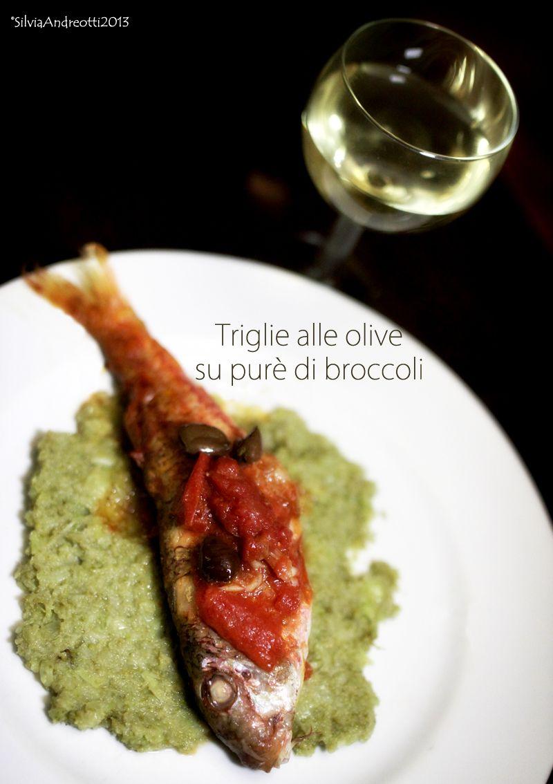 Triglie alle olive su puré di broccoli