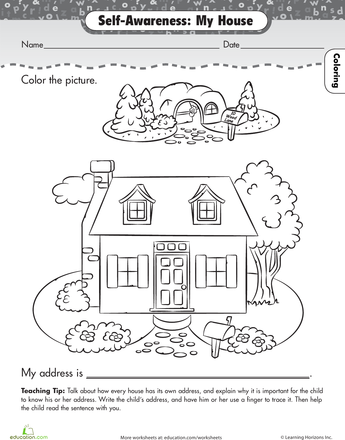About Me My House Worksheet Education Com Preschool Themes Free Preschool Worksheets Preschool Theme