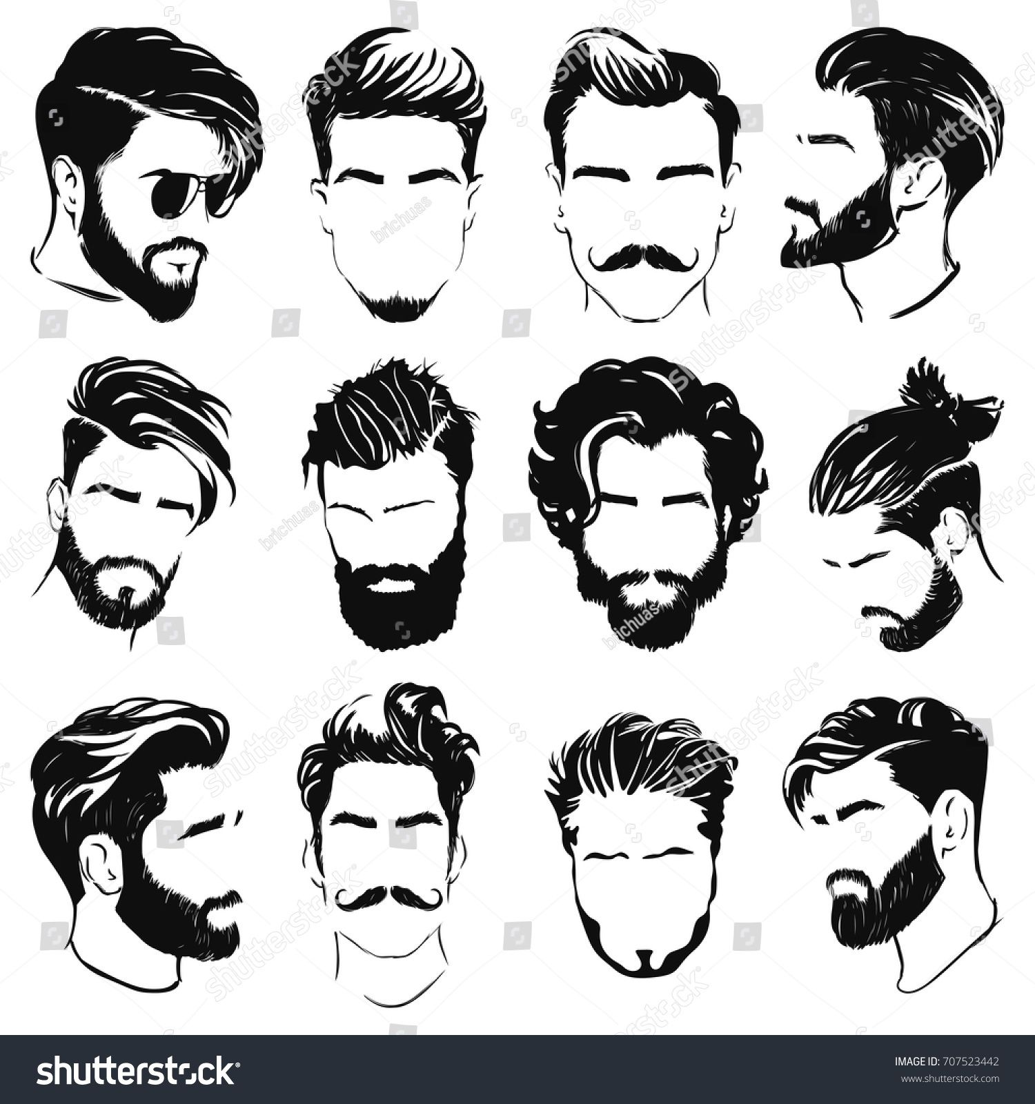 Vector Men Hairstyle Silhouettes Men Vector Silhouettes Hairstyle