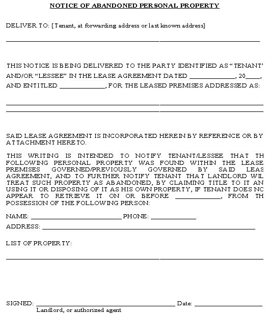 Notice Of Abandoned Personal Property Form  Property Management