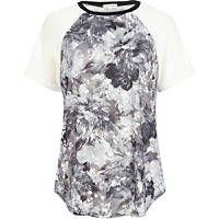 Grey floral print raglan sleeve t-shirt