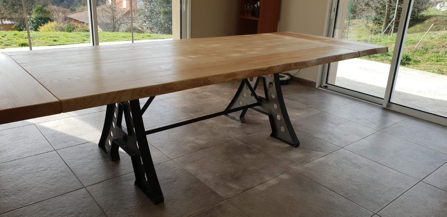 Table À Manger Industrielle grande table de salle à manger industrielle à rallonges en