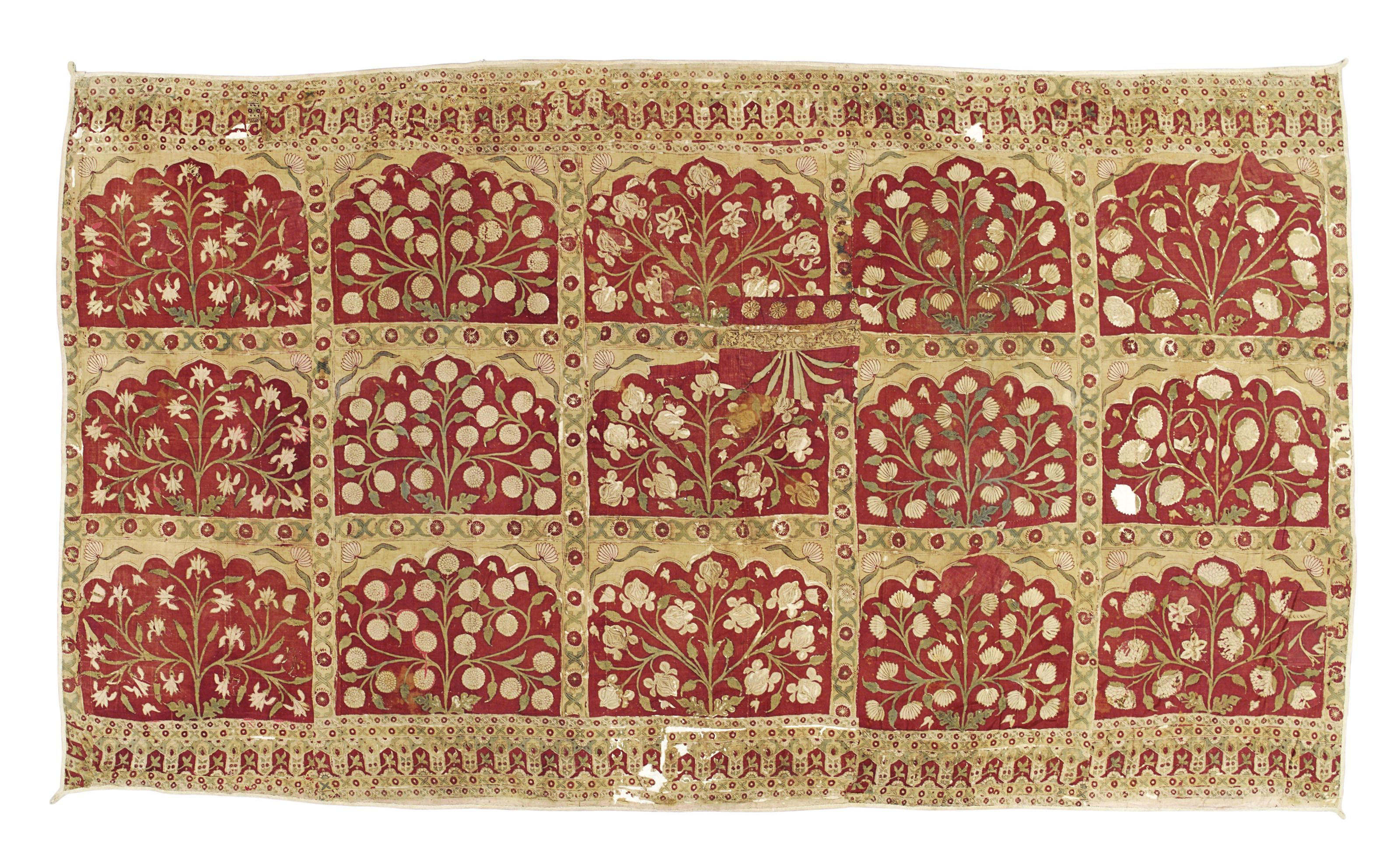 A Large Mughal Tent Wall Panel North India 18th Century 17th Century Textiles Costume Christie S In 2020 Mughal Wall Paneling Tent