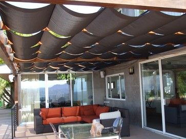 Perfect Slidewire Outdoor Roman Shades   Modern   Patio   Los Angeles   Calshades  And Awnings,
