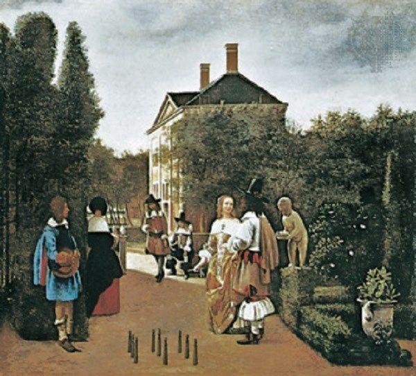 Dutch artist Pieter de Hooch 1629-1684 paints City Gardens & Courtyards - Skittle Players in a Garden
