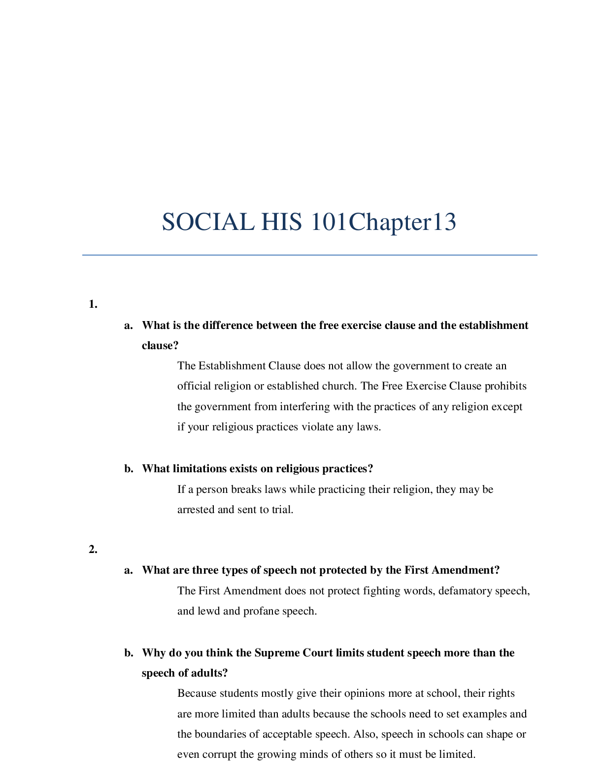 SOCIAL HIS 101Chapter13. Questions and Answers in 2020