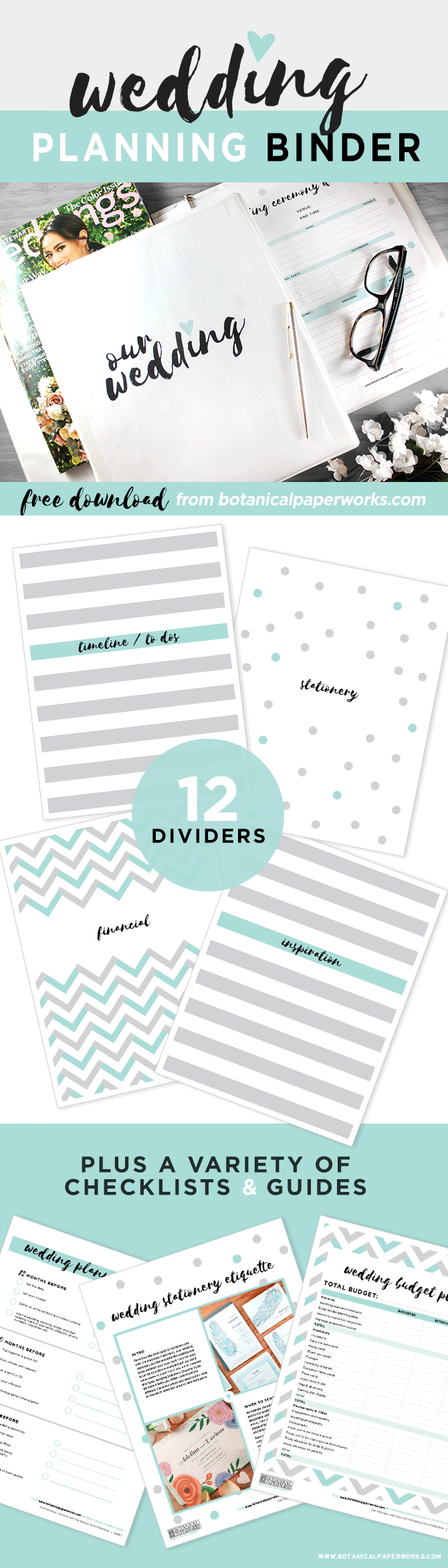 Free printables new wedding planning binder download with extra this freeprintable wedding planning binder comes in 3 color options and is filled with planning junglespirit Image collections